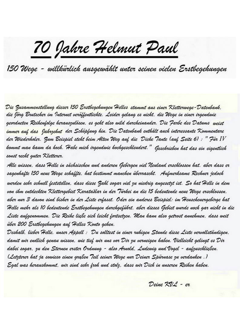 Laudatio Anlasslich Helmut Pauls 70 Geburtstag